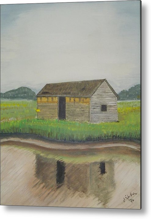 Marsh Metal Print featuring the painting Bald Head Island Shed by John Schuller