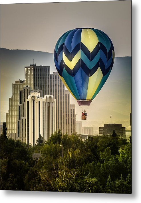 great Reno Balloon Races Metal Print featuring the photograph Balloon Over Reno by Janis Knight