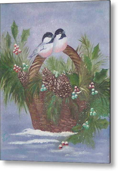 Nature Metal Print featuring the painting Basket Of Pine by Judy Moses