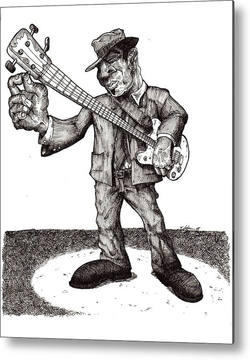 Blues Metal Print featuring the drawing Bass by Tobey Anderson
