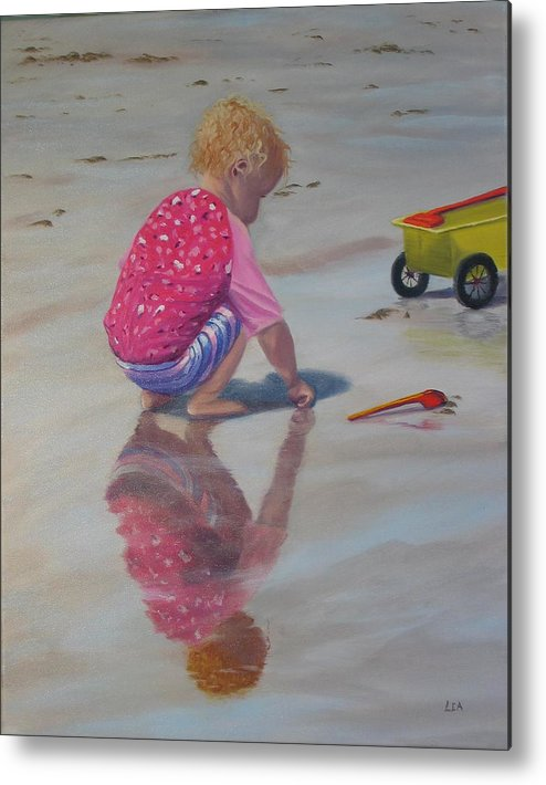 Baby Metal Print featuring the painting Beach Baby by Lea Novak