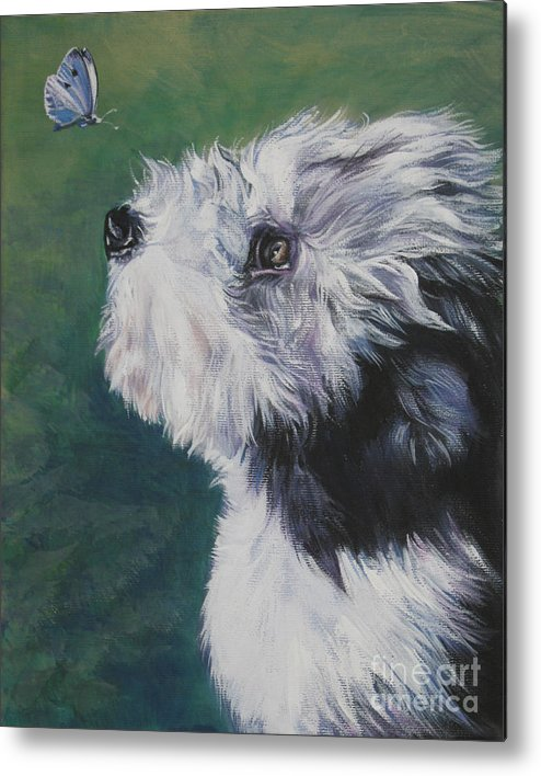 Bearded Collie Metal Print featuring the painting Bearded Collie Pup With Butterfly by Lee Ann Shepard