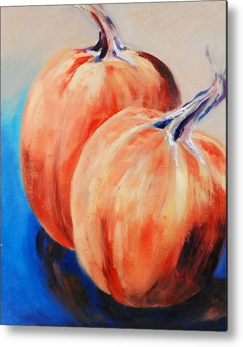 Metal Print featuring the painting Bear's Mill Punkins by Donna Pierce-Clark