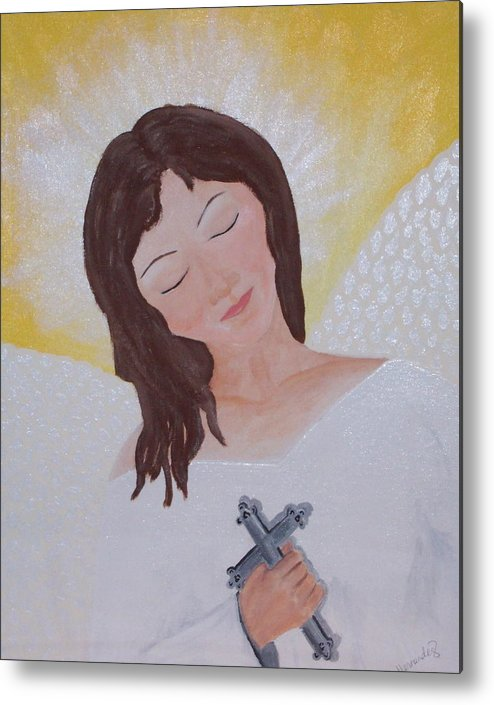 Angel Metal Print featuring the painting Believe by Jennifer Hernandez