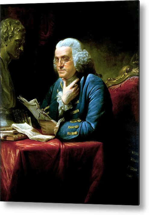 Benjamin Franklin Metal Print featuring the painting Ben Franklin by War Is Hell Store