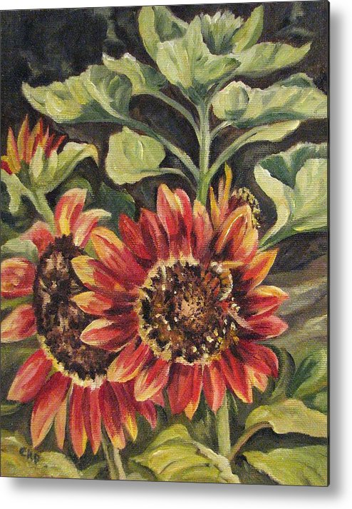 Floral Metal Print featuring the painting Betsy's Sunflowers by Cheryl Pass