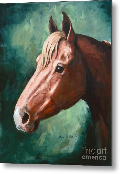Horse Metal Print featuring the painting Big Red Snip  Horse Painting by JoAnne Corpany