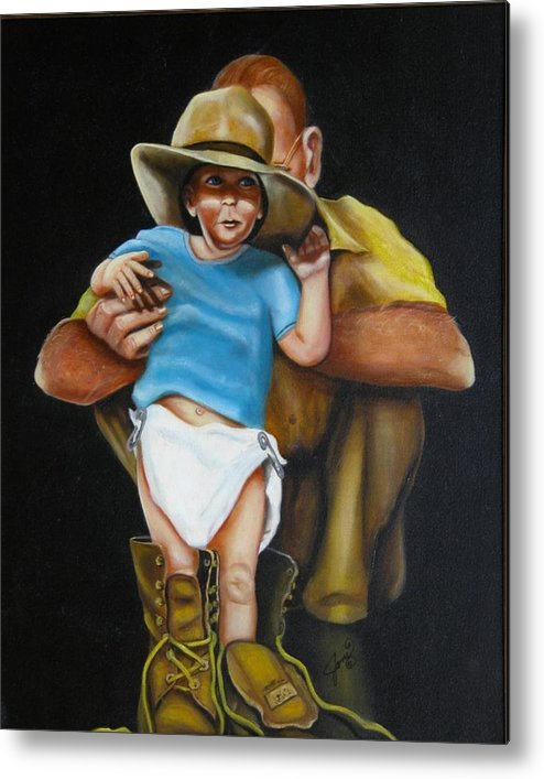 Potraits Metal Print featuring the painting Big Shoes To Fill by Joni McPherson