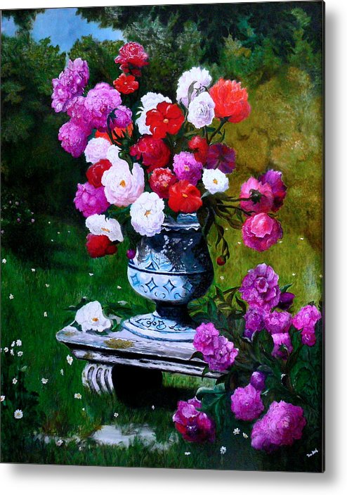Stilllife Metal Print featuring the painting Big Vase With Peonies by Helmut Rottler