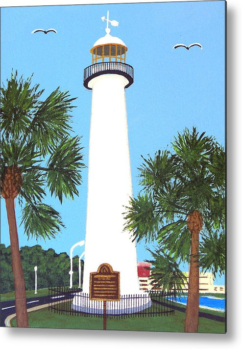 Lighthouse Paintings Metal Print featuring the painting Biloxi Lighthouse by Frederic Kohli