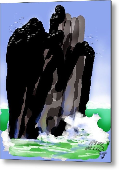 Seascape Metal Print featuring the painting Bird Rock Off Marin Headlands by Paul Miller