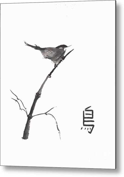 Sumi-e Metal Print featuring the painting Bird by Sibby S