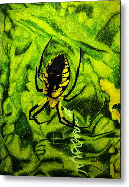 Nature Metal Print featuring the painting Black And Yellow Agriope by Wade Clark