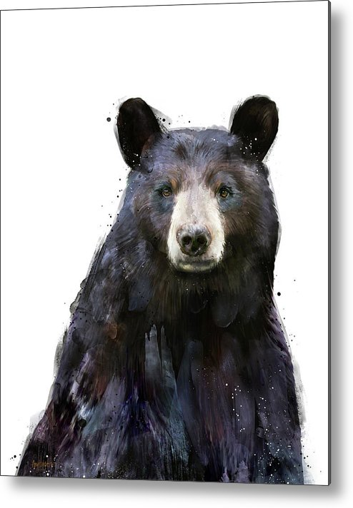 Bear Metal Print featuring the painting Black Bear by Amy Hamilton