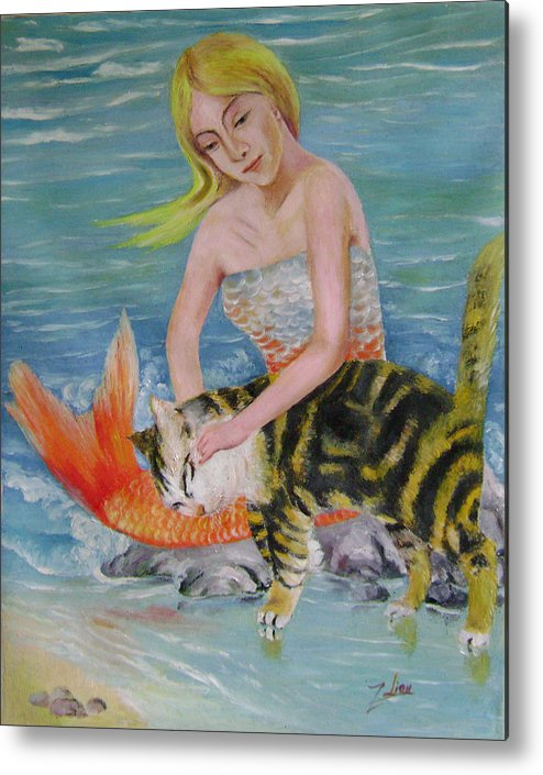 Surrealist Metal Print featuring the painting Blond Mermaid And Cat by Lian Zhen