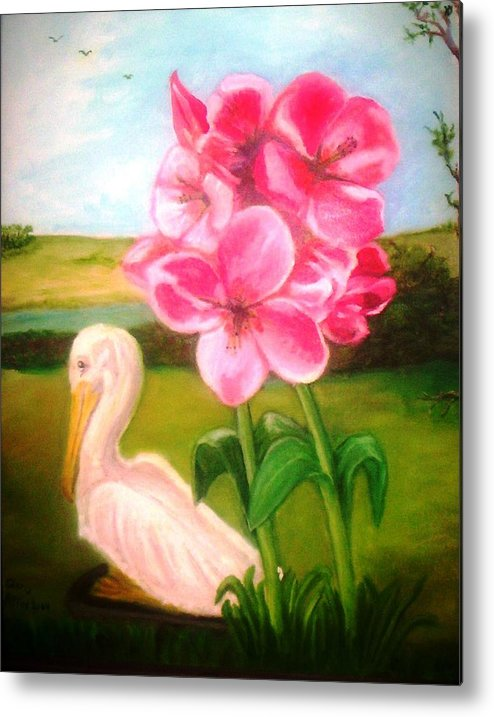Pelegan Metal Print featuring the painting Blooming by Gloria M Apfel