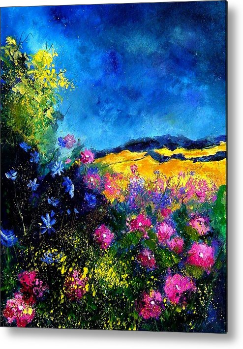Landscape Metal Print featuring the painting Blue And Pink Flowers by Pol Ledent