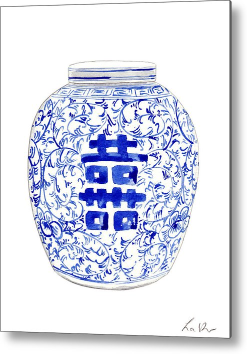 8f85e95a4c1 Blue And White Ginger Jar Chinoiserie 8 Metal Print by Laura Row