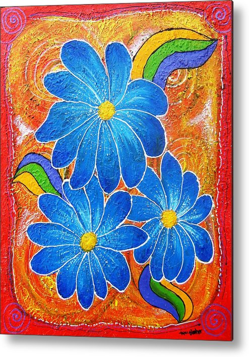 Metal Print featuring the painting Blue Daisies Gone Wild by Tami Booher
