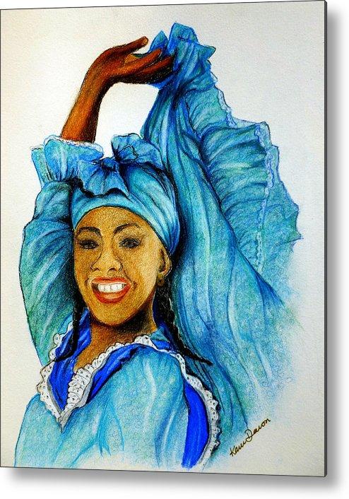Blue Dancer Metal Print featuring the pastel Blue Dancer by Karin Dawn Kelshall- Best