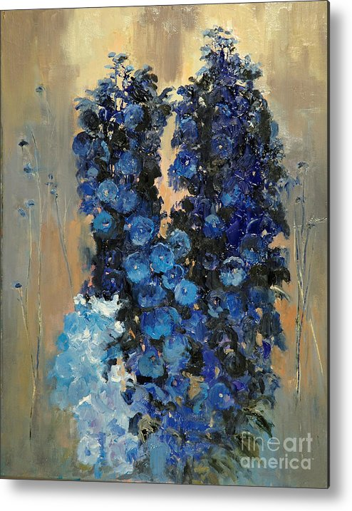 Floral Metal Print featuring the painting Blue Delphiniums For Nancy by Glenn Secrest