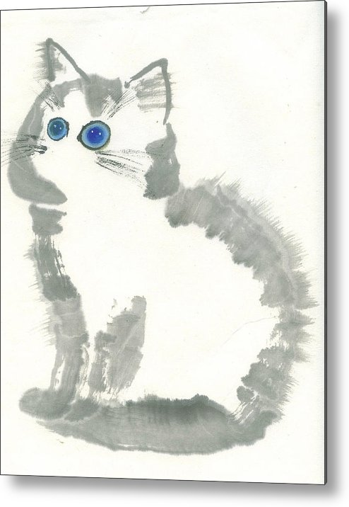 Blue-eye Kitten Sitting Still. This Is A Contemporary Chinese Ink And Color On Rice Paper Painting With Simple Zen Style Brush Strokes.  Metal Print featuring the painting Blue-eye by Mui-Joo Wee