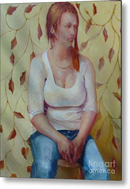 Contemporary Female Portrait Metal Print featuring the painting Blue Jeans Girl       Copyrighted by Kathleen Hoekstra