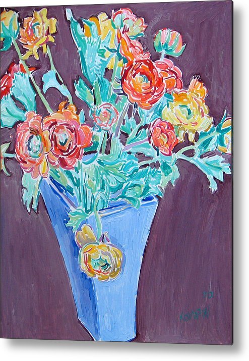 Blue Metal Print featuring the painting Blue Vase With Flowers by Vitali Komarov