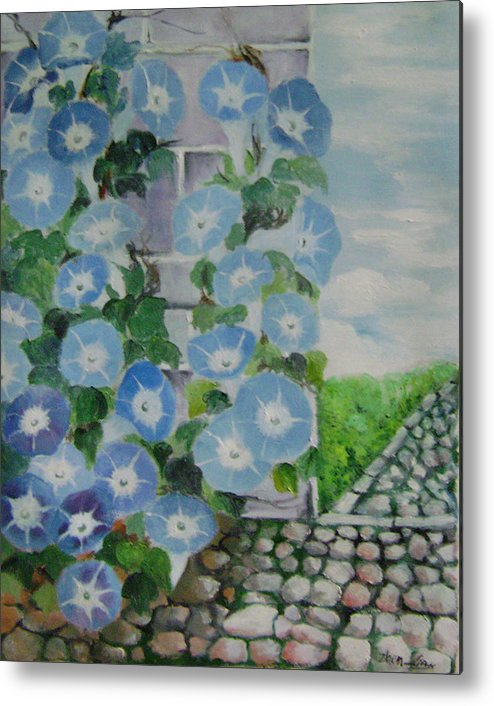 Floral Metal Print featuring the painting Blue Wall by Lian Zhen