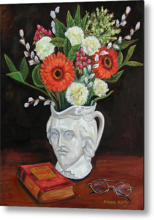 Still Life Metal Print featuring the painting Book And Flowers by Fran Kelly