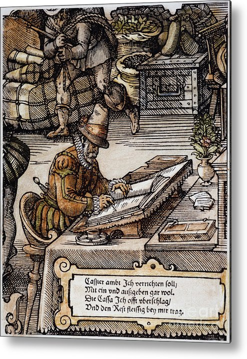 16th Century Metal Print featuring the photograph Bookkeeper, 16th Century by Granger
