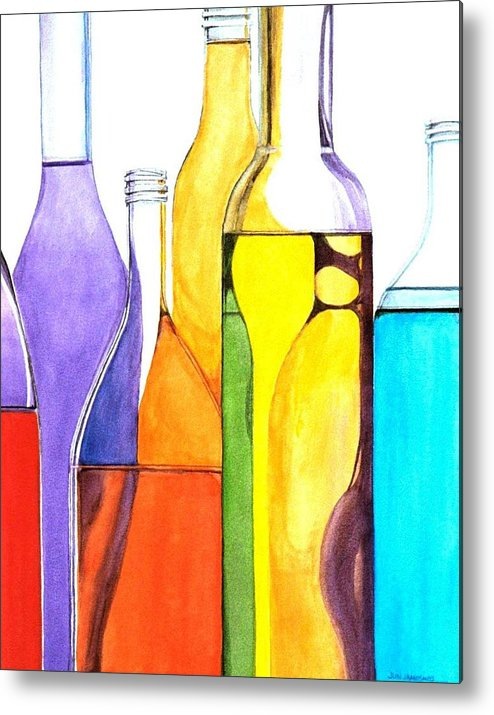 Bottle Metal Print featuring the painting Bottled Rainbow 1 by Jun Jamosmos