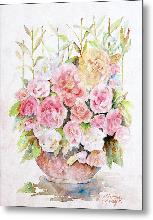 Rose Metal Print featuring the painting Bowl Full Of Roses by Arline Wagner