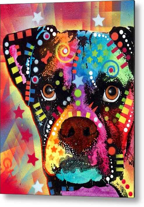 Boxer Metal Print featuring the painting Boxer Cubism by Dean Russo