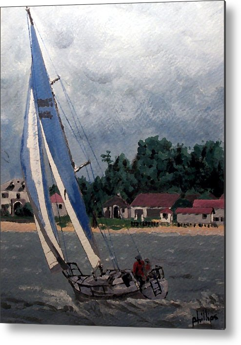 Sailing Metal Print featuring the painting Breezy Day At Sea by Jim Phillips