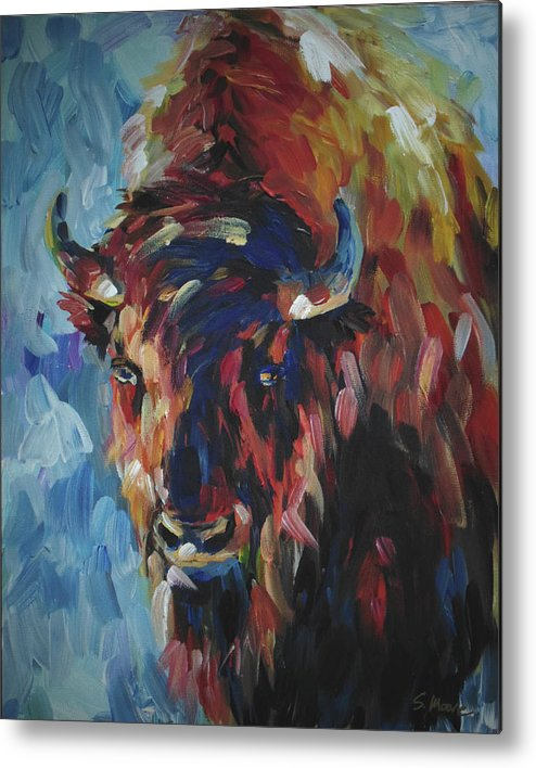 Buffalo Metal Print featuring the painting Buffalo In Blue by Susan Moore
