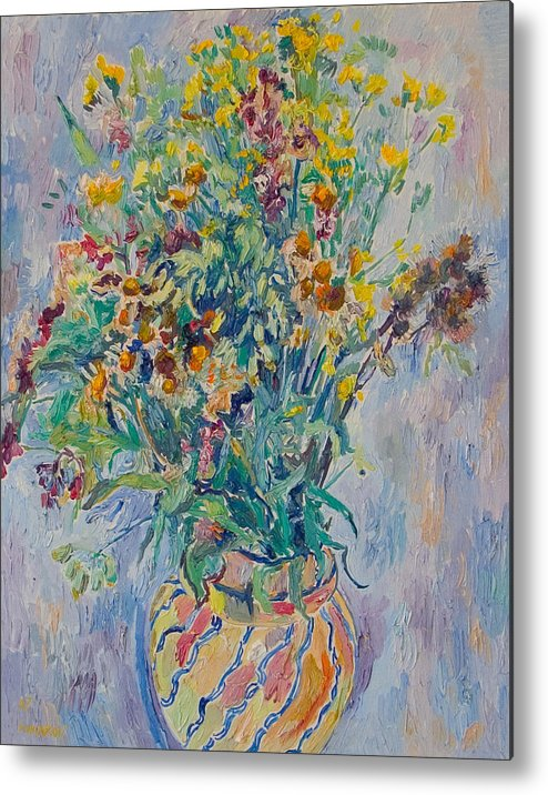Wild Flowers Metal Print featuring the painting Bunch Of Wild Flowers In A Vase by Vitali Komarov