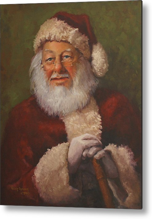 Portrait Metal Print featuring the painting Burts Santa by Vicky Gooch