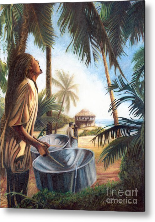 Tropical Metal Print featuring the painting Call To Paradise by Mike Massengale