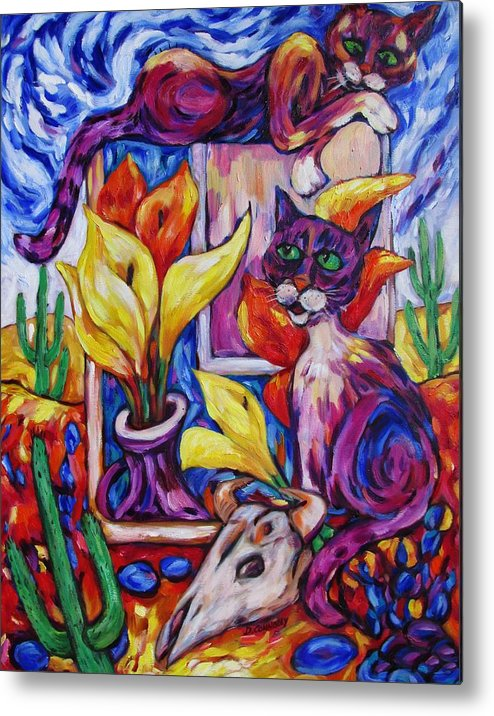 Diconnollyart Metal Print featuring the painting Calla Cacti Cat Izona by Dianne Connolly