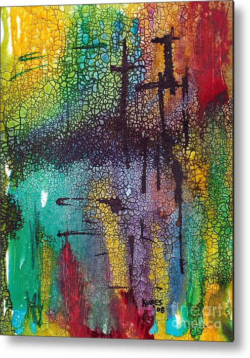 Cross Metal Print featuring the painting Calvary by Susan Kubes