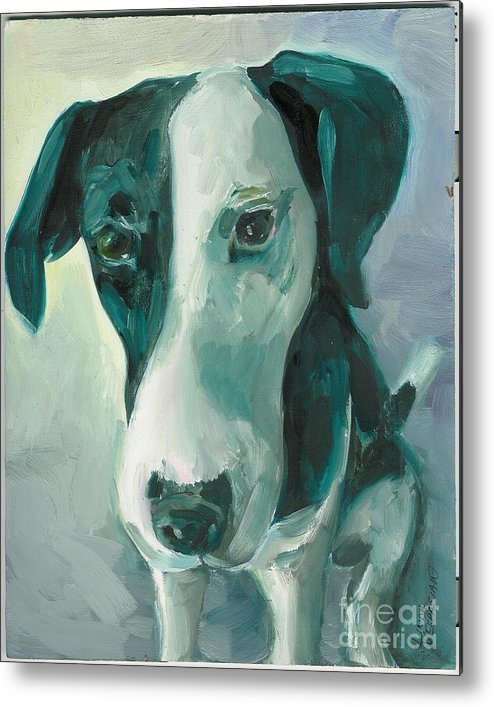 Dog Metal Print featuring the painting Can I Help by Linda Vespasian