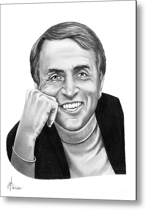 Pencil Metal Print featuring the drawing Carl Sagan by Murphy Elliott