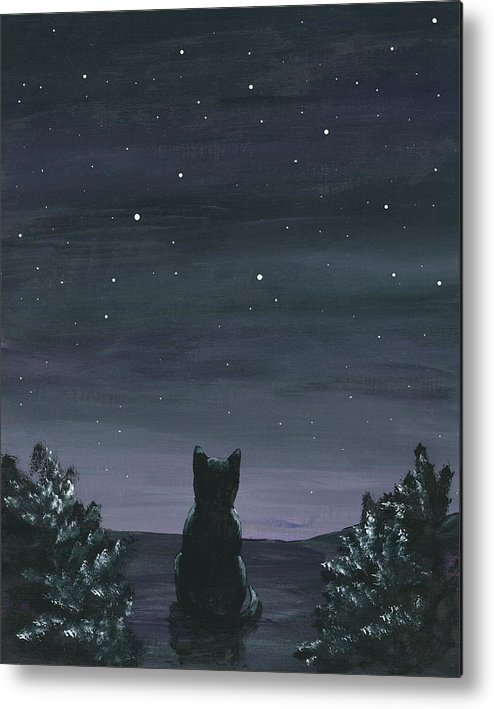 Cat Metal Print featuring the painting Cat And The Stars by Christine StPierre