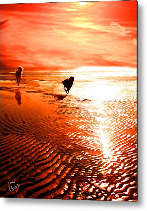 Dog Metal Print featuring the painting Catch Me If You Can by Suni Roveto