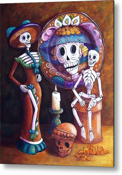 Dia De Los Muertos Metal Print featuring the painting Catrina Group by Candy Mayer
