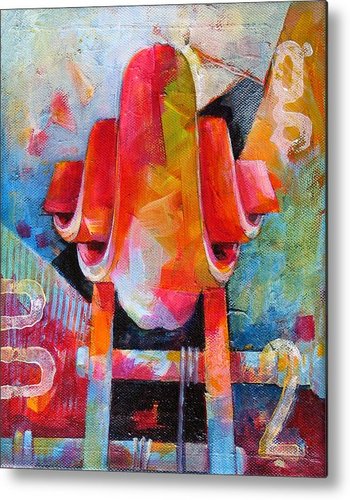 Musical Artwork Metal Print featuring the painting Cello Head In Blue And Red by Susanne Clark