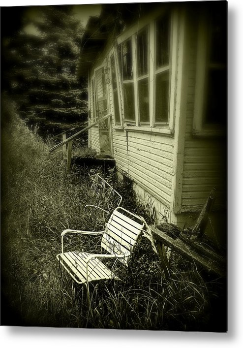 Chair Metal Print featuring the photograph Chair In Grass by Perry Webster