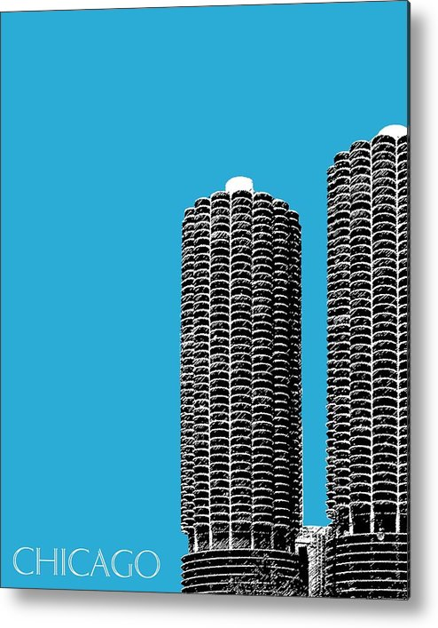 Architecture Metal Print featuring the digital art Chicago Skyline Marina Towers - Teal by DB Artist