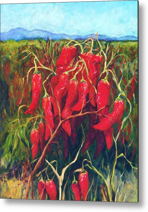 Landscape Metal Print featuring the painting Chile Field by Candy Mayer